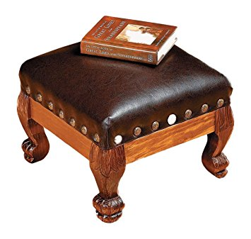 otc wood and faux leather footstool RVMUNMQ