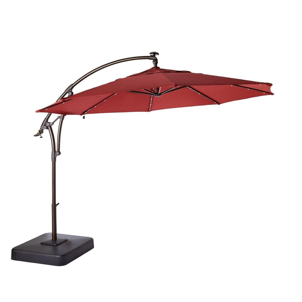 outdoor umbrella led round offset patio umbrella in red GAQPIAO