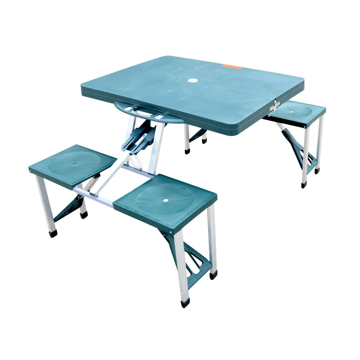 outsunny outdoor portable folding picnic table w/ seats - green ZMVQSWI