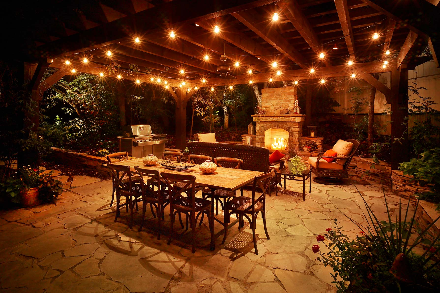 patio lights | festoon lighting composed with down lighting and wash  lighting. ITKYKGL