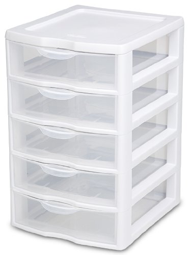 plastic storage drawers amazon.com: sterilite 20758004 small 5 drawer unit, white frame with clear  drawers, ZHSLGGQ