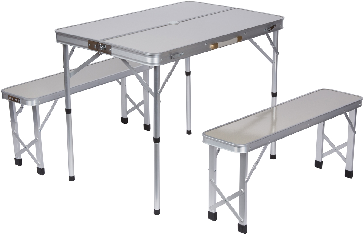 portable aluminum folding picnic table with 2 folding bench seats QNIPPIP