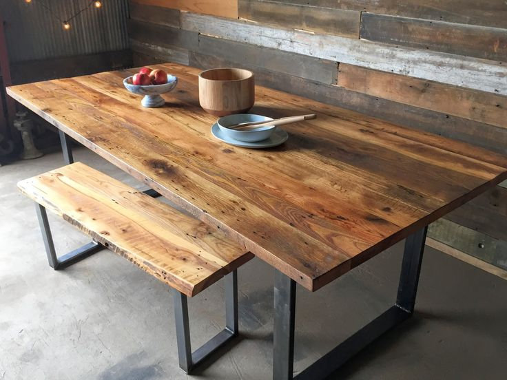 reclaimed wood dining table industrial modern dining table / u-shaped metal legs. reclaimed wood ... HVKIJJN