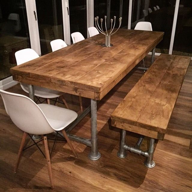 rustic dining table 8ft reclaimed industrial rustic scaffold pole plank board boardroom dining  table | HNNQGKT