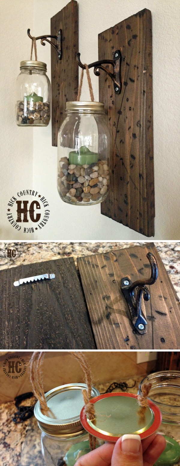rustic home decor rustic diy mason jar wall lanterns: TXTRDYE