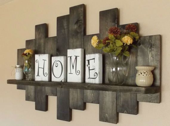 rustic home decor rustic offset shelf; offset shelves, wooden shelves, shabby chic decor, rustic  home KOZSKAT