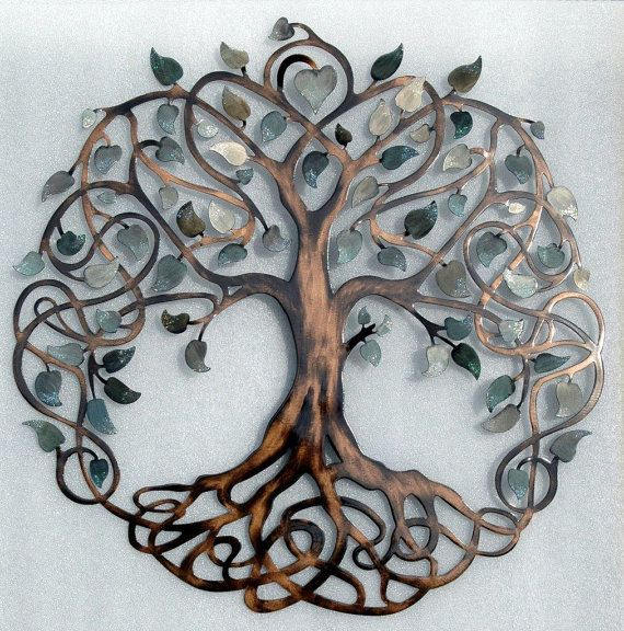 shades of grey tree of life infinity tree metal wall art XJZCVJG