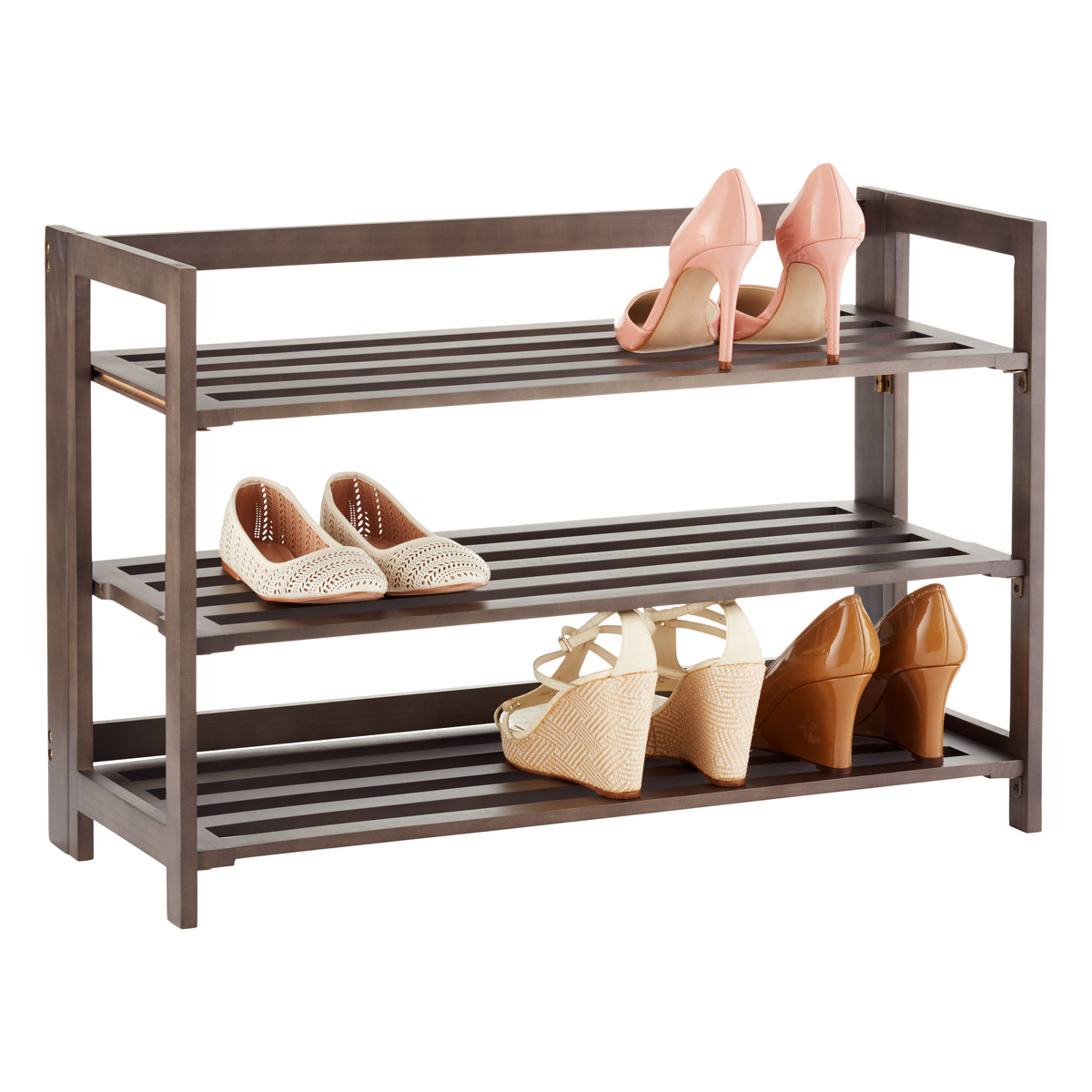 shoe shelves 3-tier driftwood folding shoe rack UVLXPYG