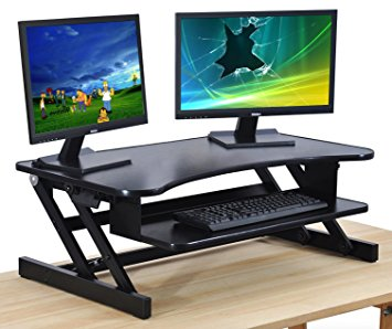 sit stand desk standing desk - adjustable height desk riser - sturdy 32in. wide sit stand YEZLJFJ