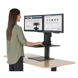 sit stand desk, standing desk, height adjustable desk, dual monitor mount,  sit QTXBAJW