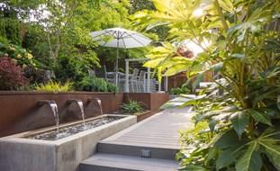 small garden design outdoor dining terrace, canopy of trees small garden pictures garden design  calimesa, CJQLHTX
