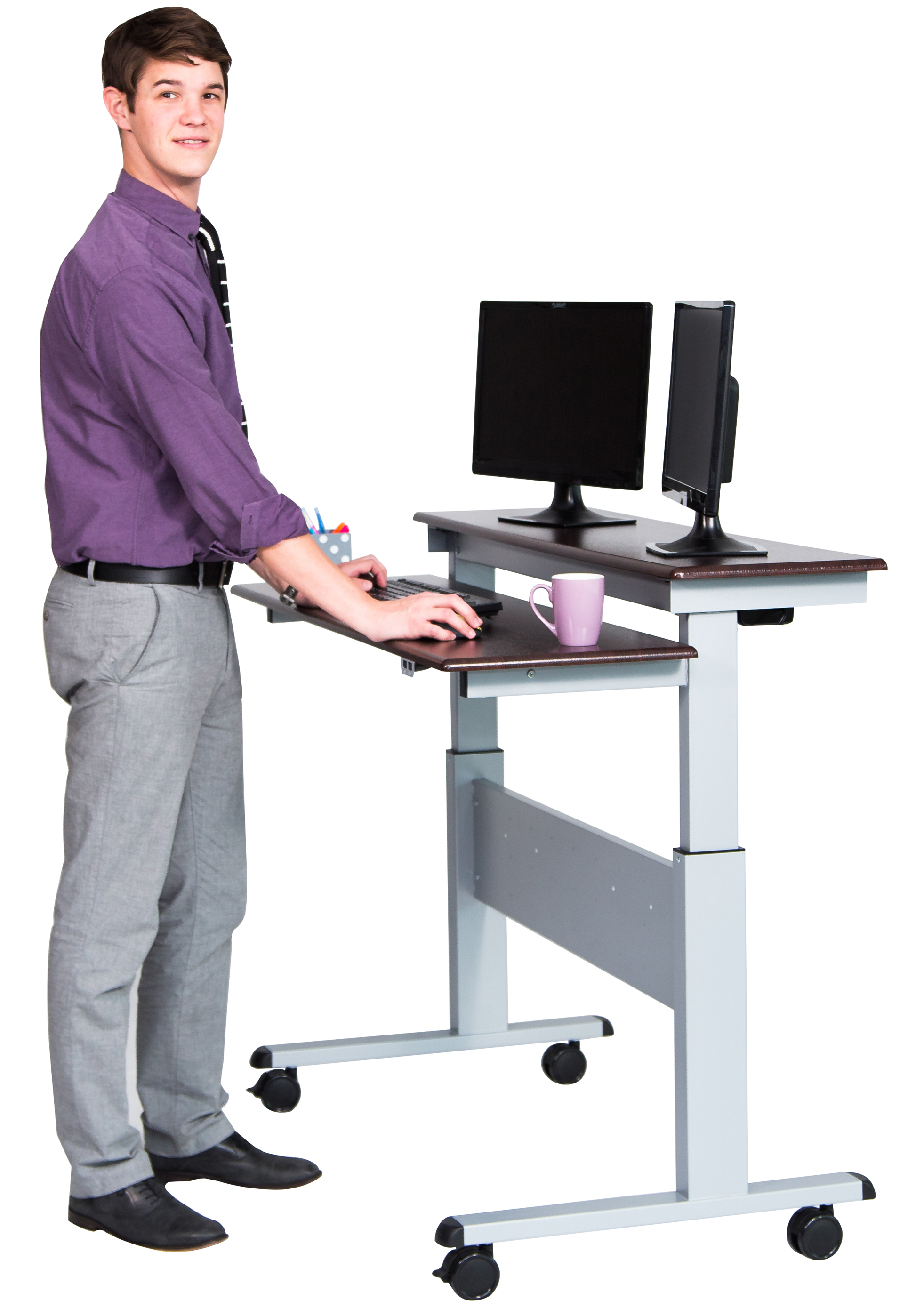 standing desk two tier electric stand up desk 48 inch | stand up desk store KBXLZKG