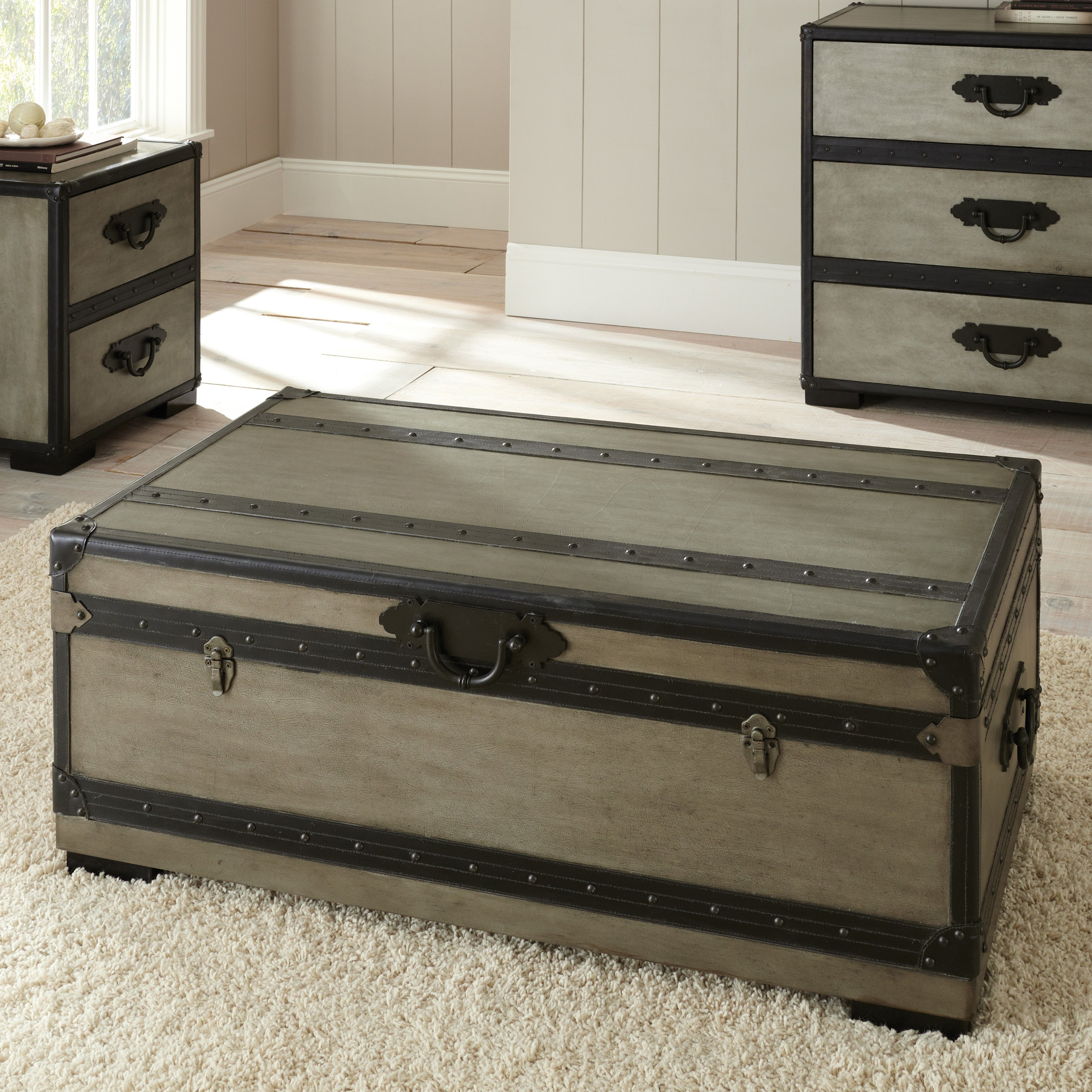 steve silver rowan rectangle weathered gray trunk coffee table - walmart.com LOBZGFJ