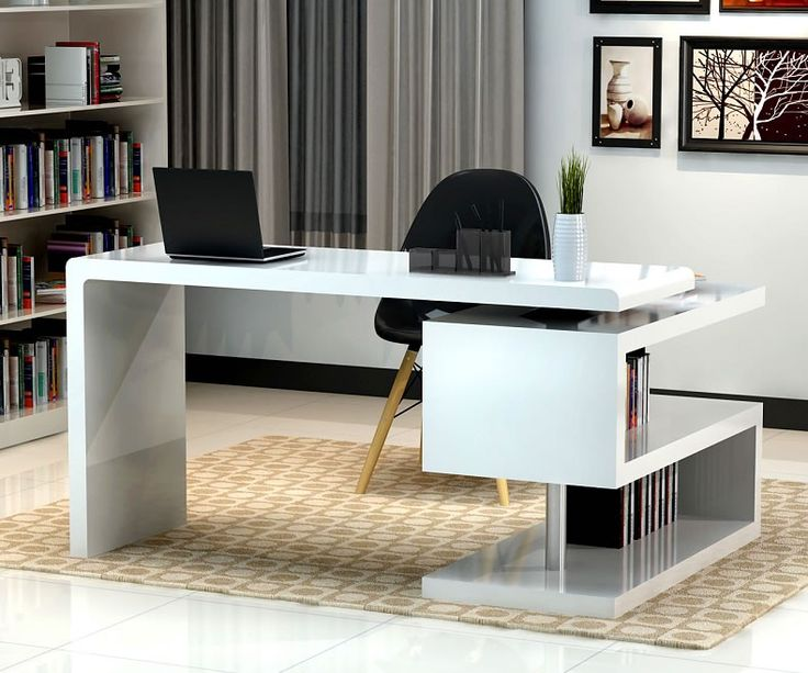 stunning modern home office desks with unique white glossy desk plus open KDGYIWW