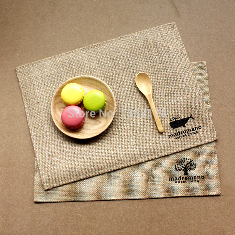 table mats aliexpress.com : buy mp002 free shipping 30cmx40cm rectangle placemats  burlap jute+pe waterproof ZRTFWBJ