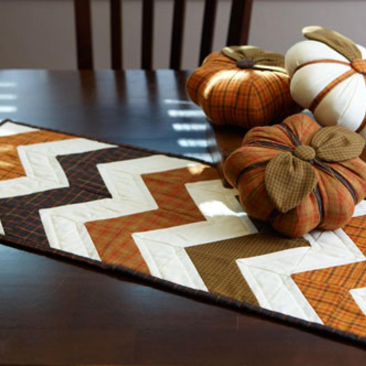 table runners stitch a fall theme table runner and trio of stuffed pumpkins that BIVCPVG