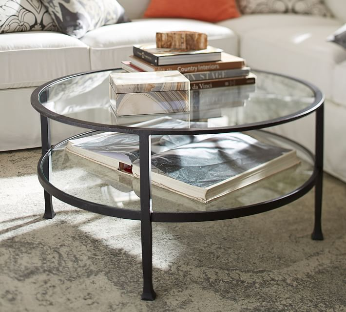 tanner round coffee table - bronze finish | pottery barn AEZXETV