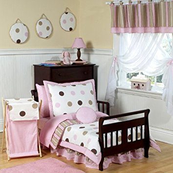 toddler bedding sets pink and brown modern polka dots toddler bedding 5 piece set KZJAUOV