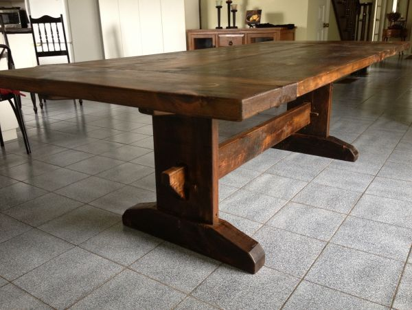 trestle table harvest dining tables - trestle, pedestal, barn beam trestle, live edge, x ZSCBRUY