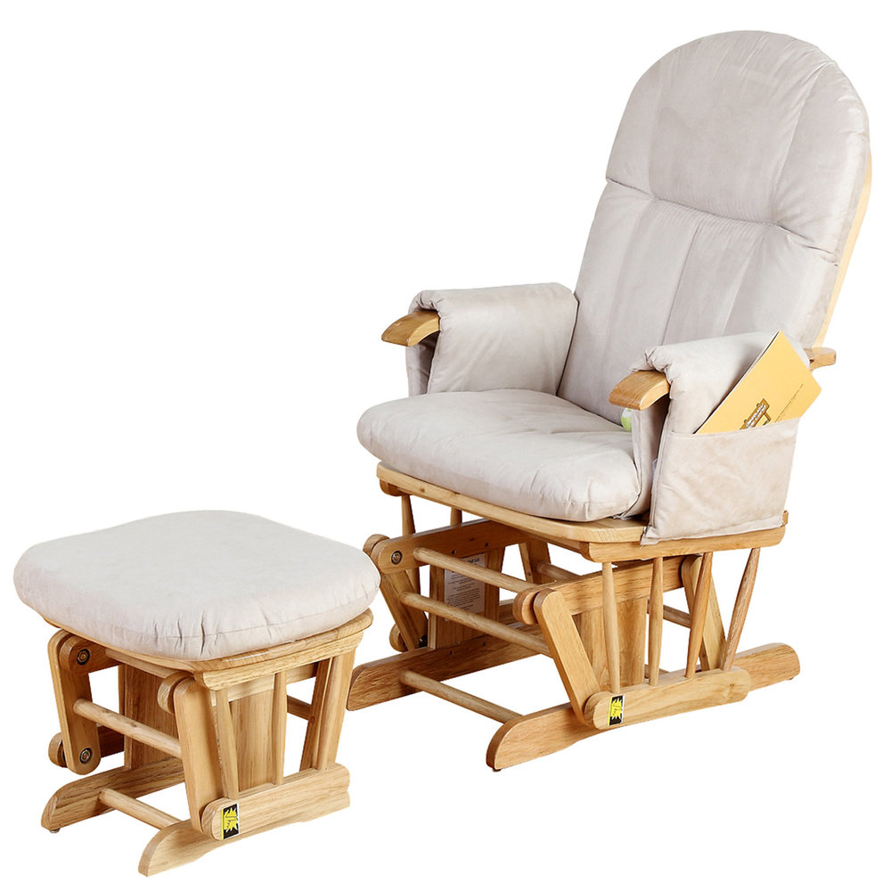 tutti bambini glider nursing chair and stool in natural LSGQKGB