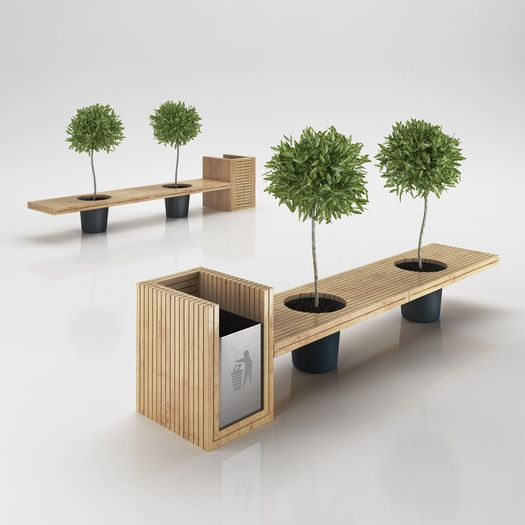 Urban Furniture Wooden Eco Design Bench With Integrated Trash Bin Model Qwtolfl