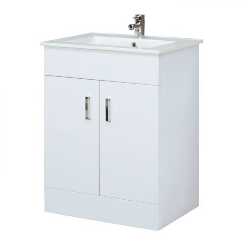 vanity units bigbathroomshop 600mm minimalist white gloss vanity unit XCKHOWS