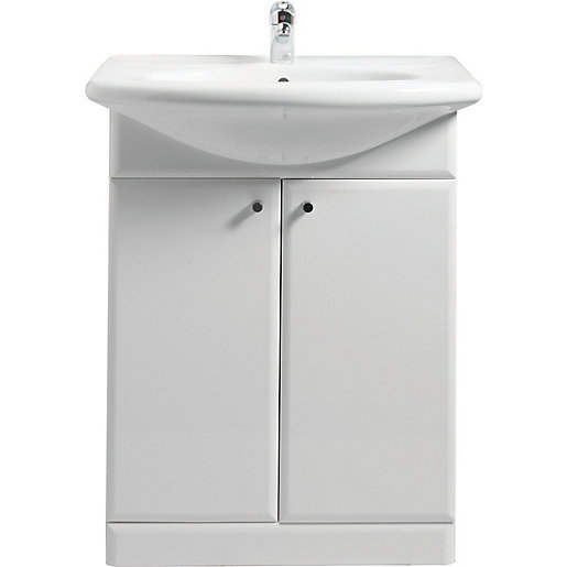 vanity units wickes white gloss vanity unit u0026 basin 550mm FCJJPBU