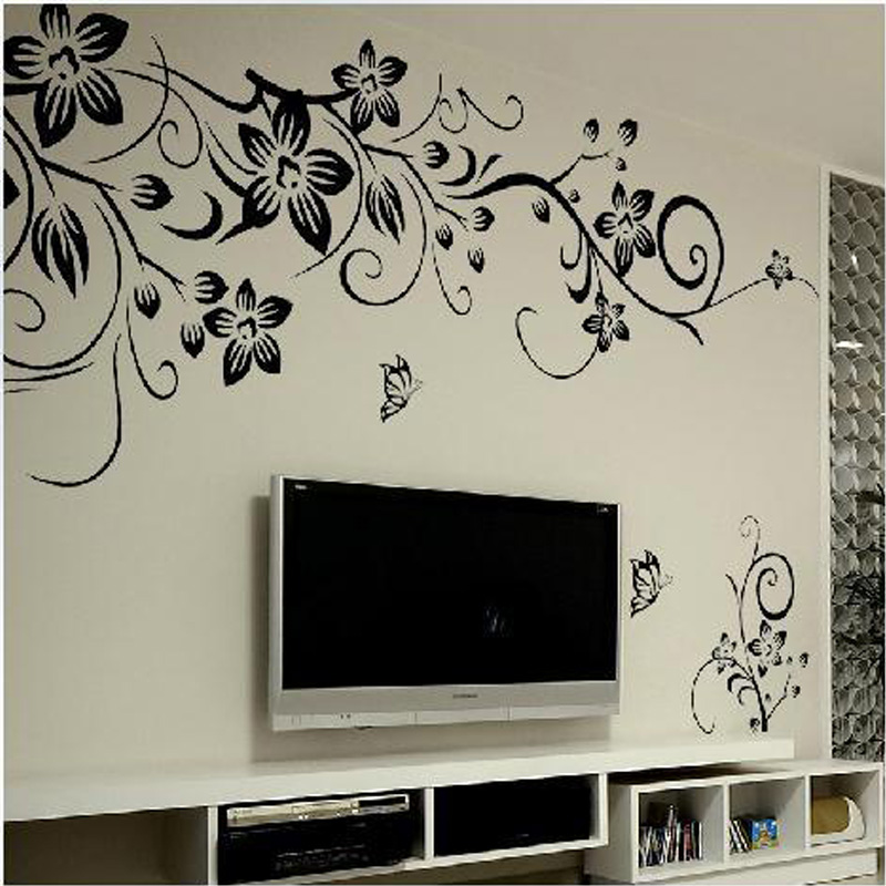 wall art decals diy removable wall art decal decoration fashion romantic flower butterfly  wall sticker/wall GWVNEJE