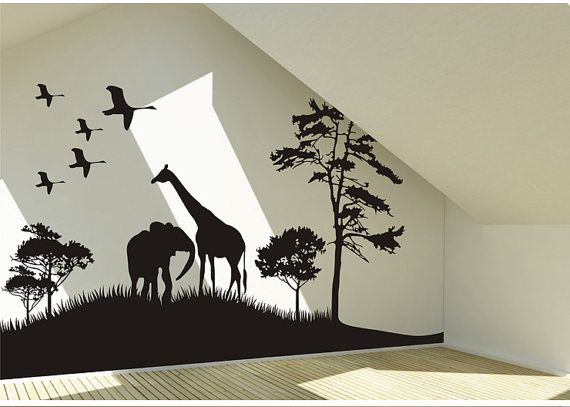 wall art decals safari animals wall decal africa giraffe and elephant vinyl wall art decal FJDDGBN