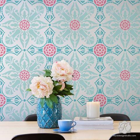 wall stencils colorful wallpaper look painted u0026 stenciled on walls - easy room makeover AJMJSKU