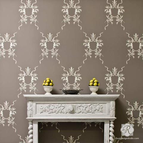 wall stencils italian wall art stencils - classic european room makeover ideas - royal LVZAHJK