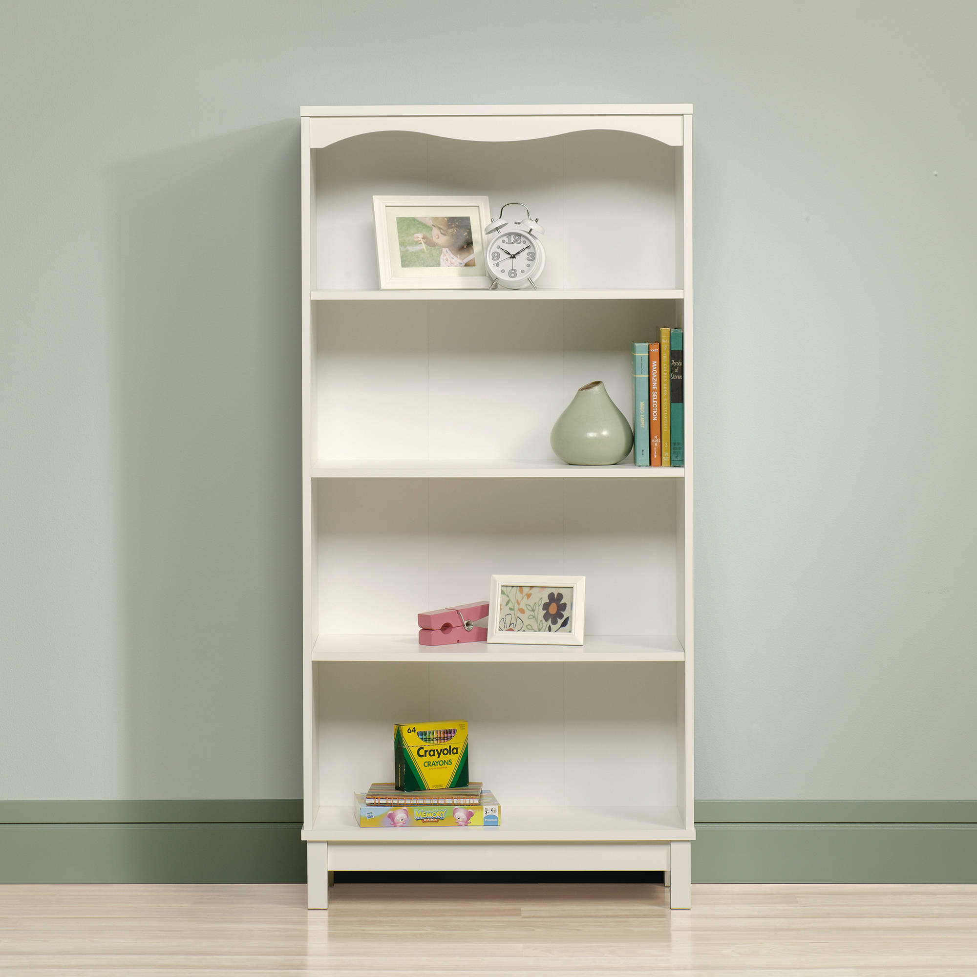 white bookcase sauder storybook bookcase, soft white QJUWGWN