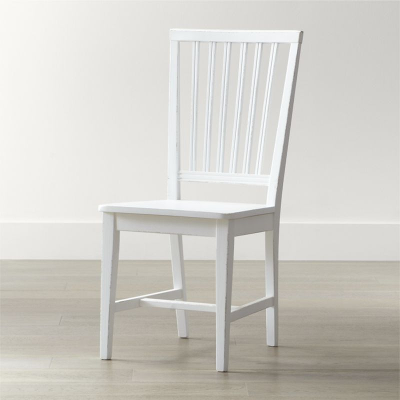 white dining chairs village white wood dining chair | crate and barrel TWSAUXF