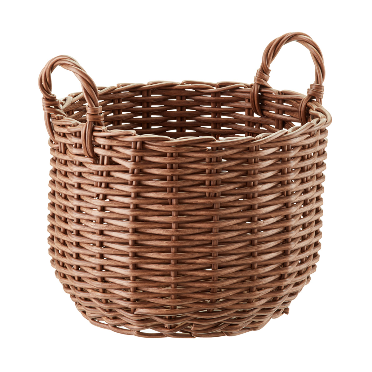 wicker baskets round plastic wicker storage bin with handles ZTSROXJ