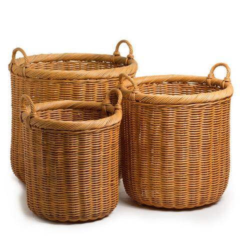 wicker baskets round wicker storage basket QWGLRIB
