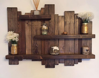 wooden shelves floating, distressed shelves, wall mounted shelf, rustic shelf, home decor,  solid VVTIXBR