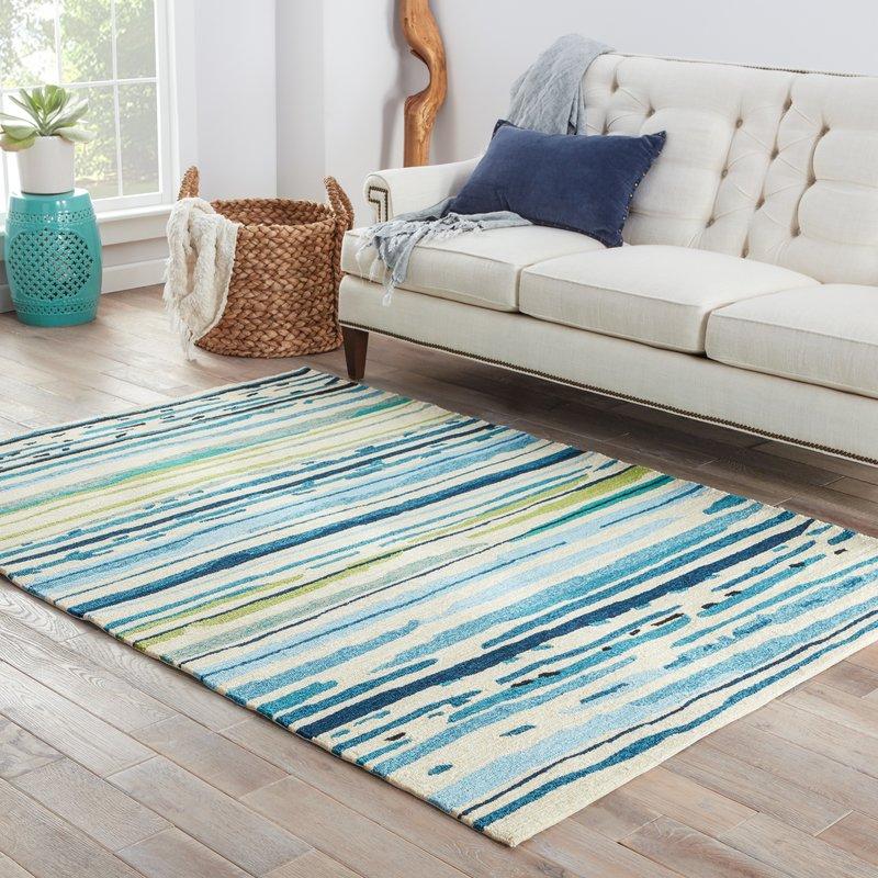 angelina hand-hooked polypropylene blue/green outdoor area rug WACMJAD