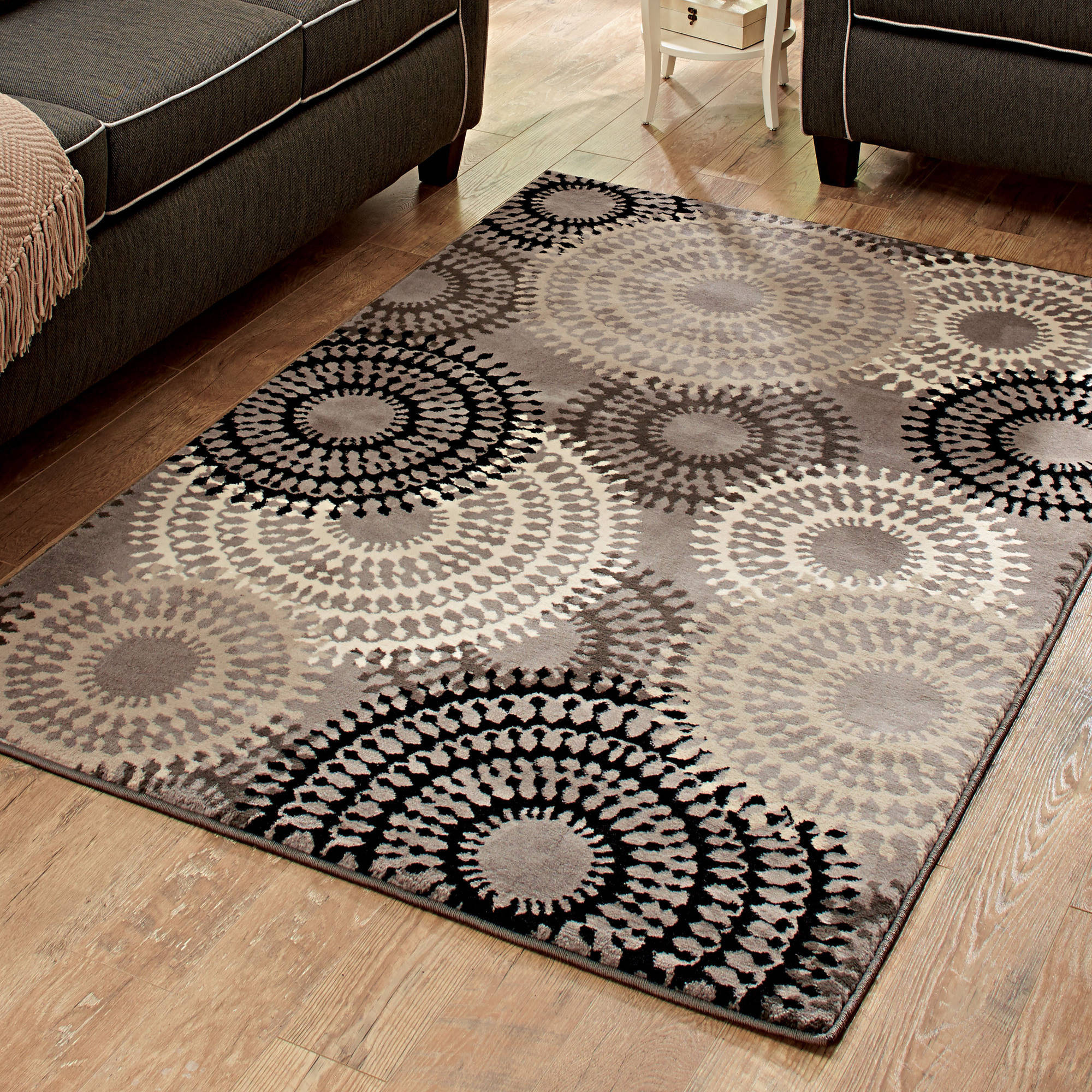 area rugs better homes and gardens taupe ornate circles area rug or runner YKLCWHH