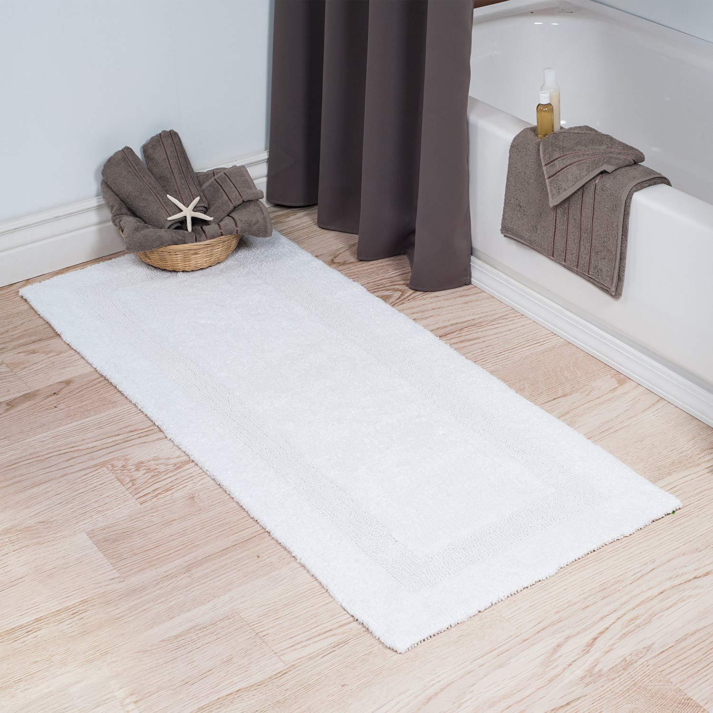 bathroom rug amazon.com: lavish home cotton bath mat- plush 100 percent cotton 24x60  long YASUSGN