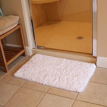 bathroom rug kmat 20x32 inch white bath mat soft shaggy bathroom rugs non-slip rubber GWYHMAL
