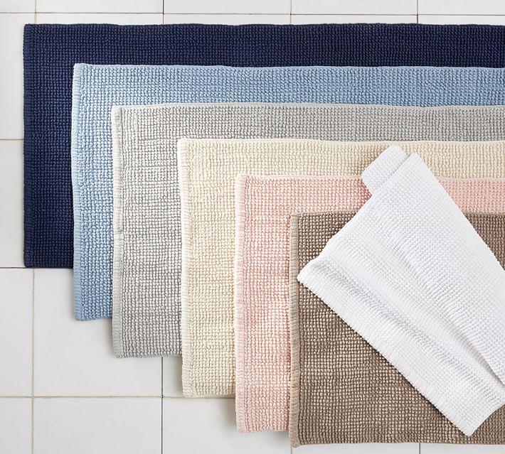 bathroom rug textured organic bath rug | pottery barn YKYPTJU