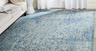 Best blue rug safavieh evoke blue/ ivory area rug x size x (plastic, abstract) YNAXRQM
