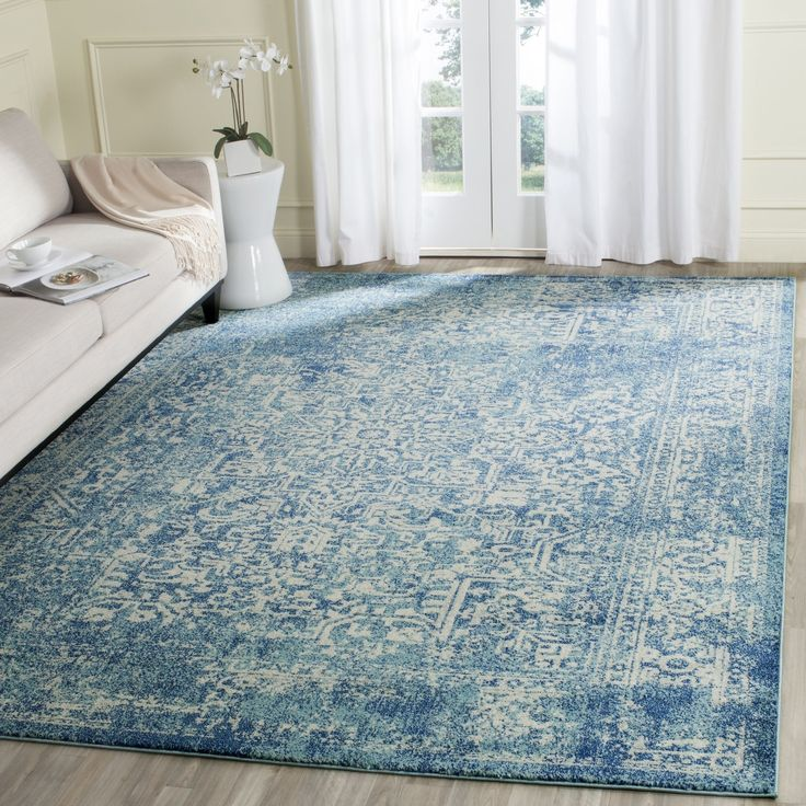 Best blue rug safavieh evoke blue/ ivory area rug x size x (plastic, abstract) YNAXRQM