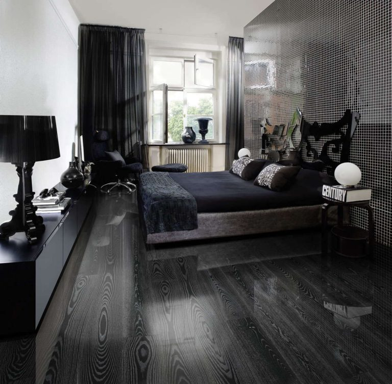 black wood flooring bedroom EONHLON