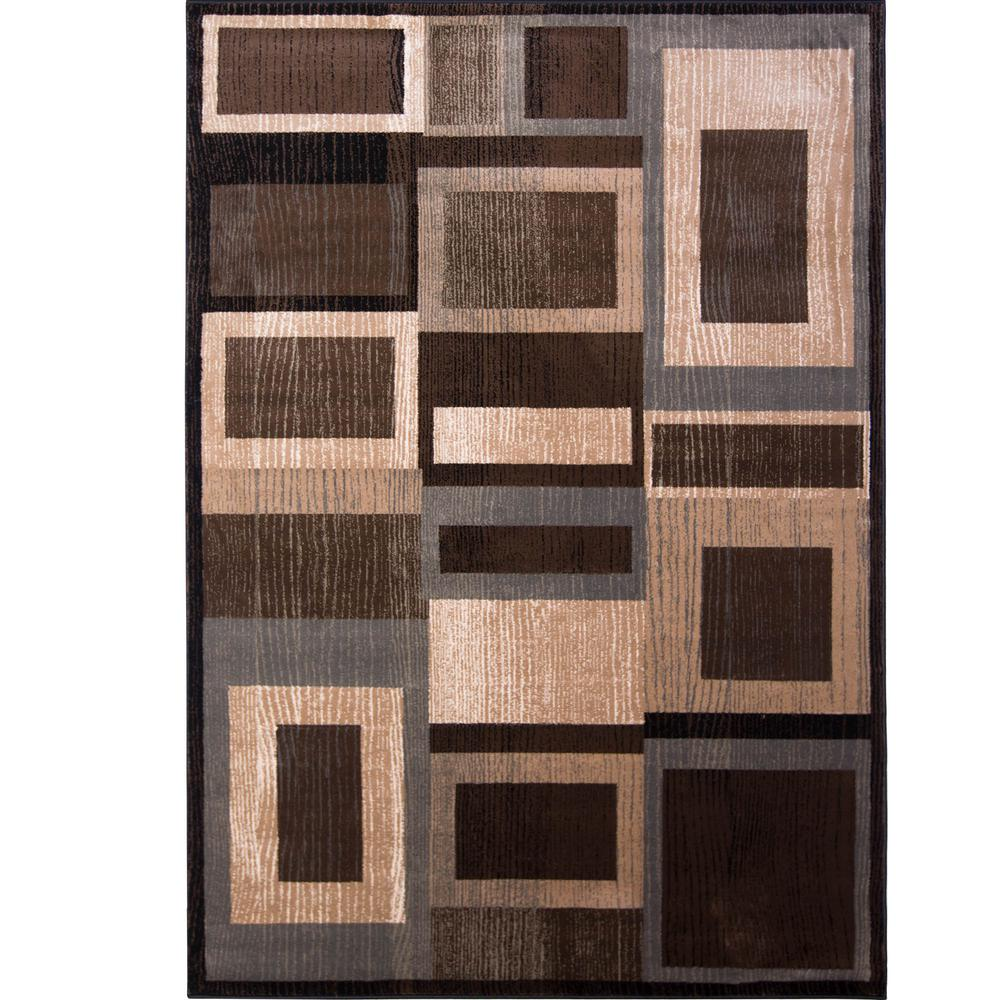 brown area rug with circles bazaar gal 1196 black/brown ... UXROYXX