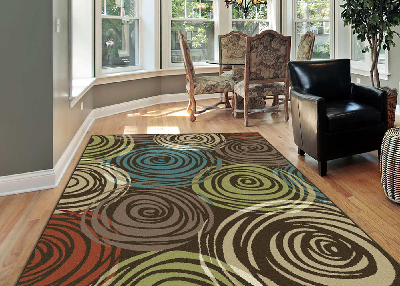 brown area rug with circles brown-contemporary-circles-area-rug-modern-geometric-swirls- KNQOLRR