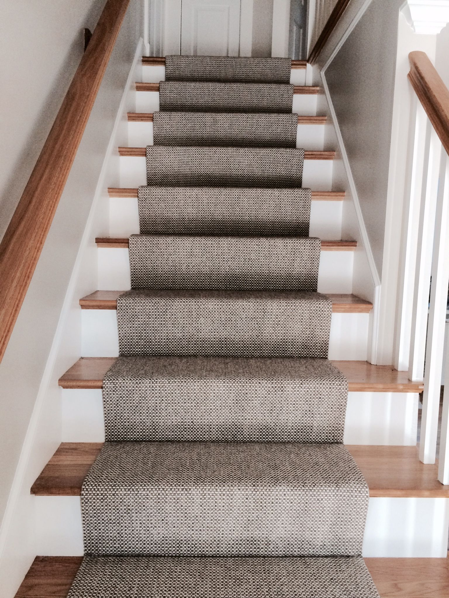 Carpet stairs woven wool stair runner that we fabricated using a fold and stitch method PJXPADP