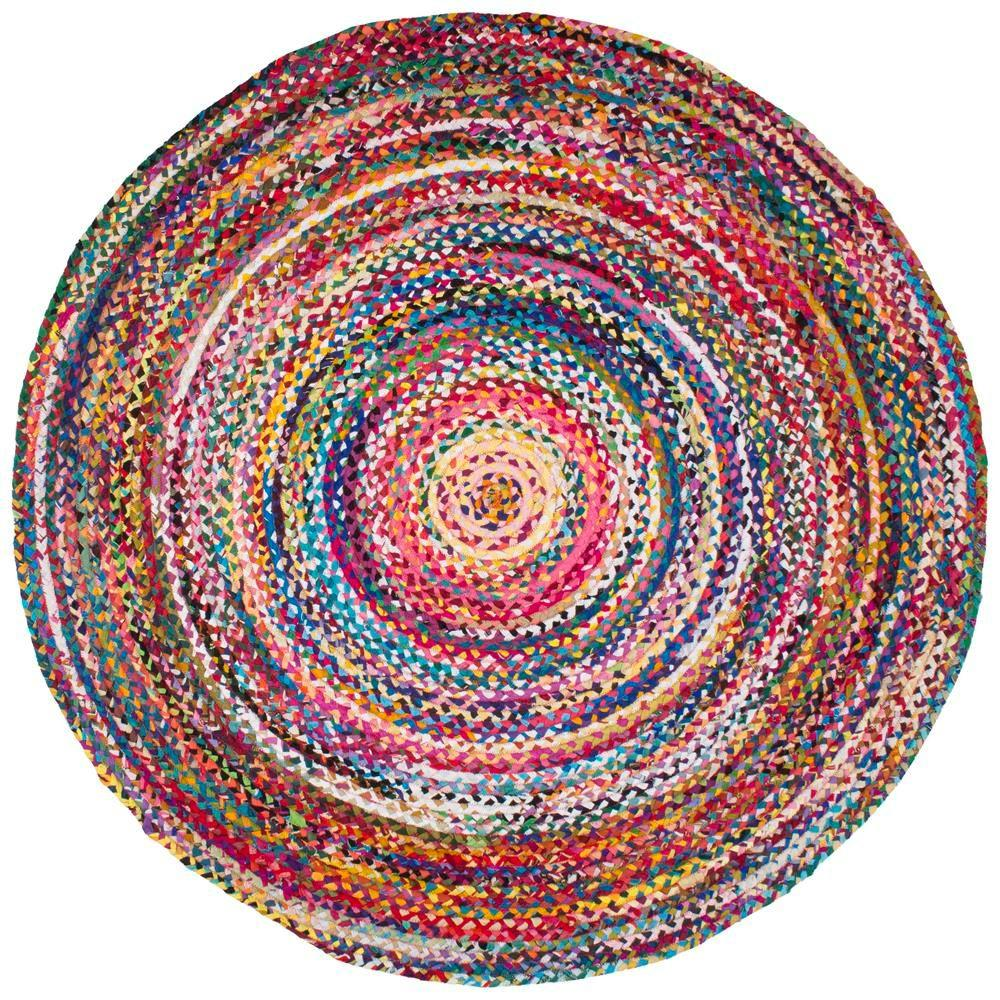 Circle rugs nuloom tammara multi 8 ft. x 8 ft. round chindi area rug VTWQQII