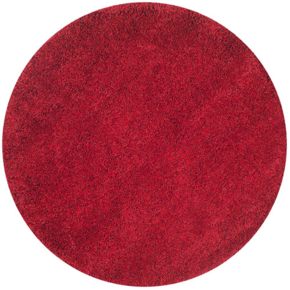 Circle rugs safavieh california shag red 4 ft. x 4 ft. round area rug THGRKJU
