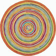 circular rug thick textures and bright colors make this round rug, concentric squares  plush EJTSAVQ